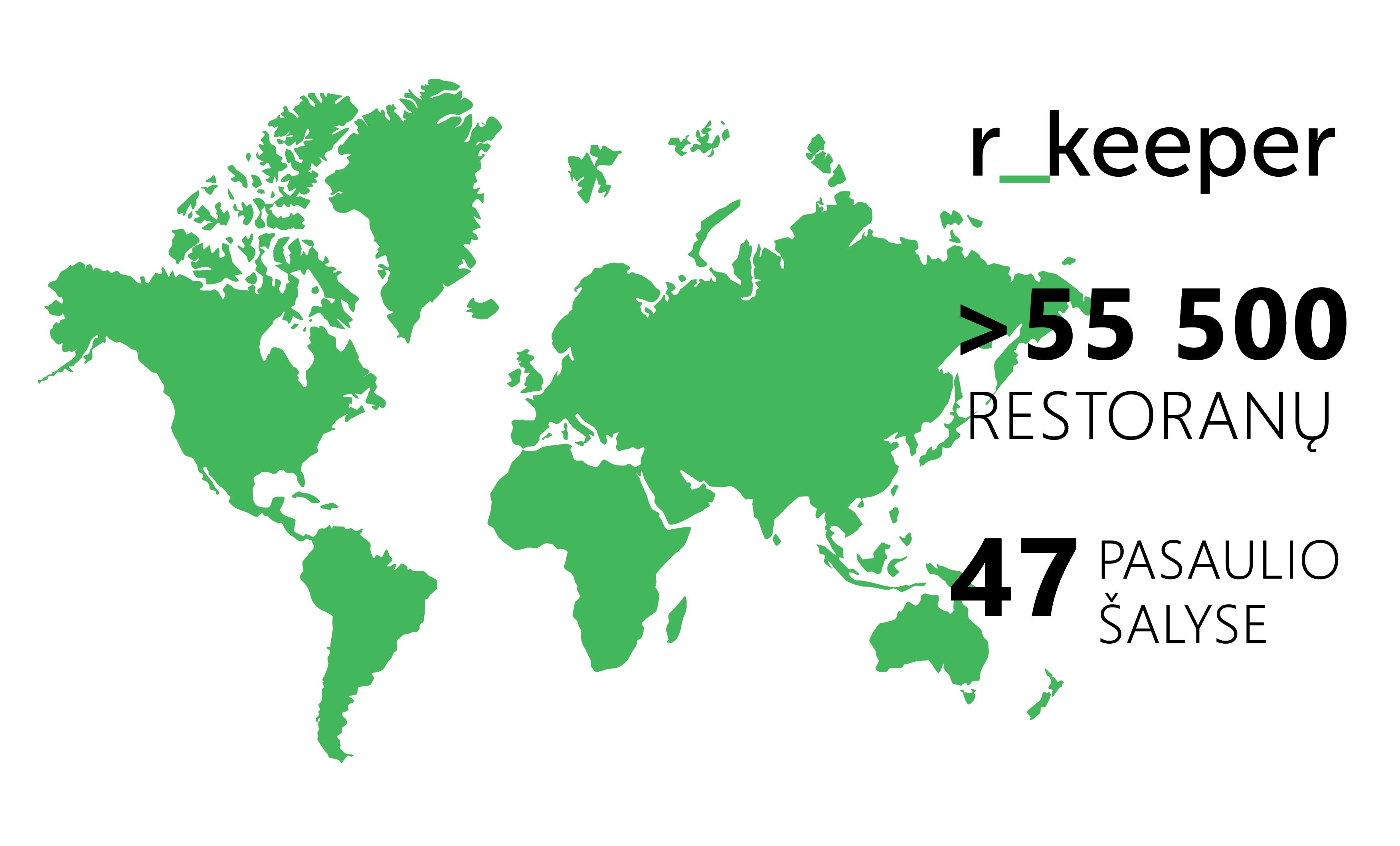 Žalias pasaulio žemėlapis su informacija apie r_keeper