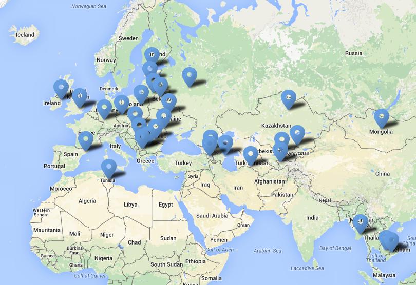 UCS partnerių žemėlapis