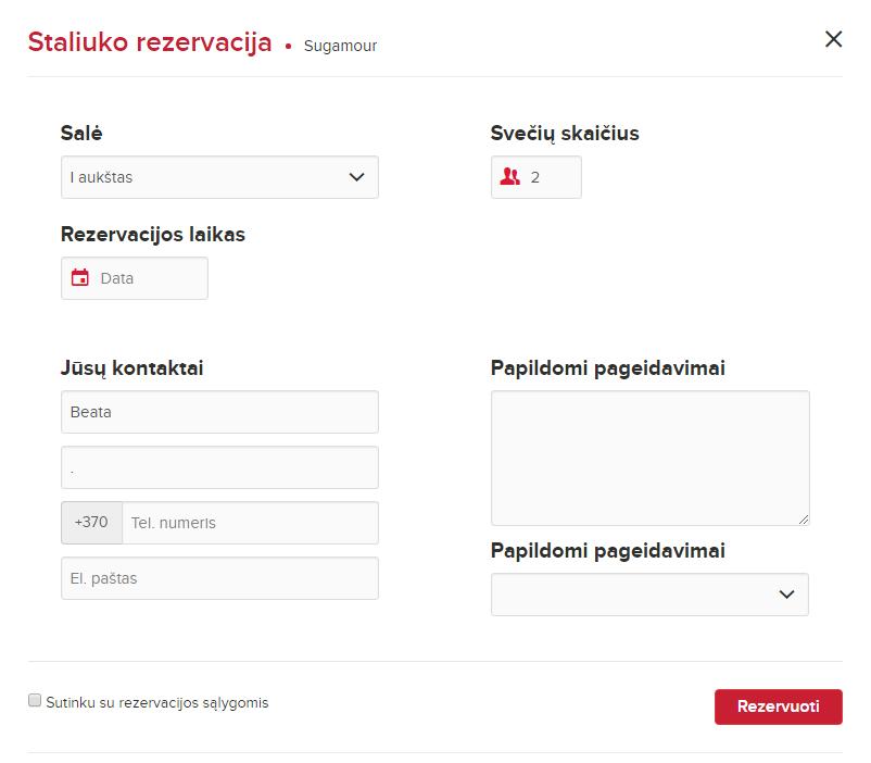 neužpildyta rezervacijos forma meniu.lt portale