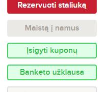 Rezervavimo mygtukas tarp kitų mygtukų meniu.lt portale