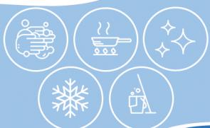 Baltos ikonos mėlyname fone, reprezentuojančios higienos modulį
