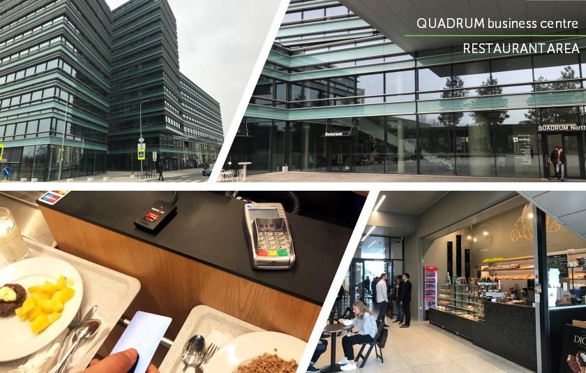 Collage of Quadrum Business Center restaurant area