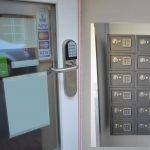 Photos of the hotel entrance with coded lock and safe boxes